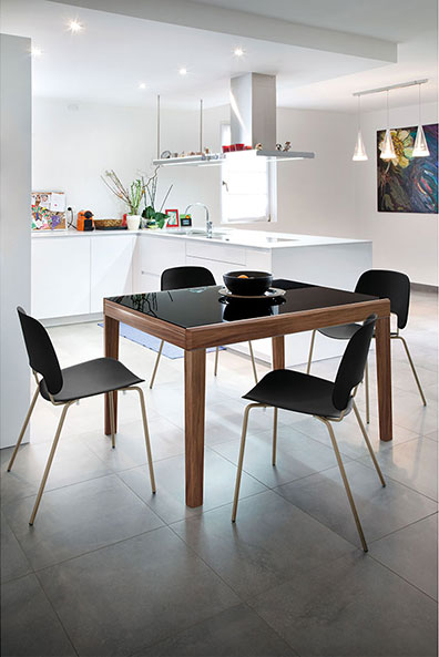 Alessio Modern Extension Dining Table + Trajan Contemporary Dining Chair