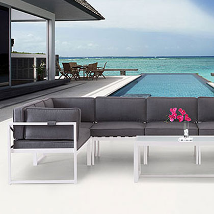 Modern Outdoor Chairs, Chaises + Ottomans