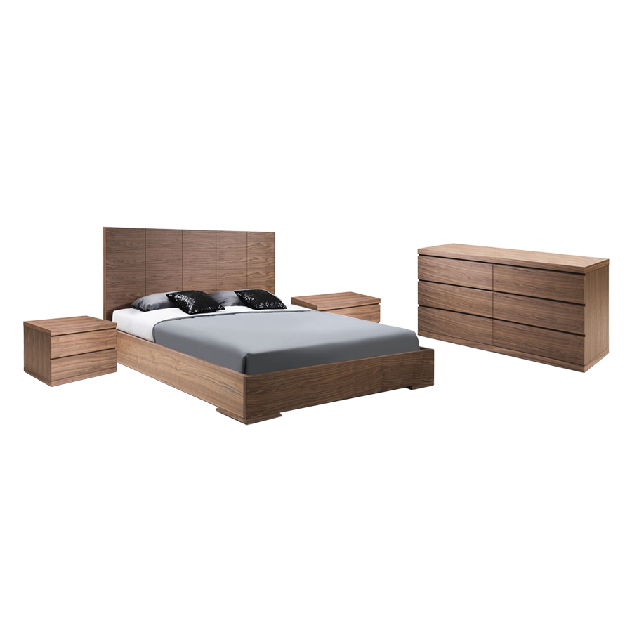Aarhus Walnut Modern Bedroom Set