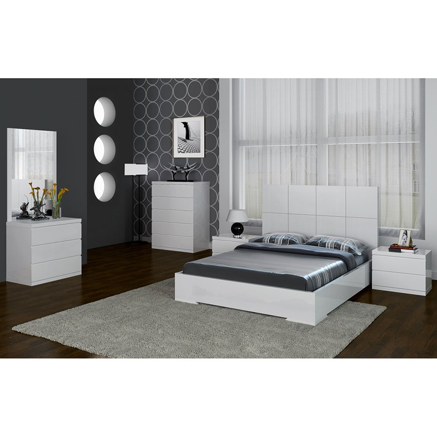 Aarhus Modern White Bedroom Furniture Collection