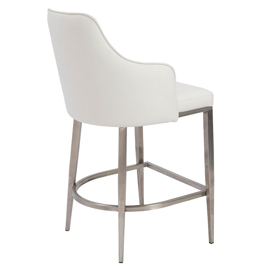 Aaron White Leatherette + Brushed Metal Contemporary Counter Stool