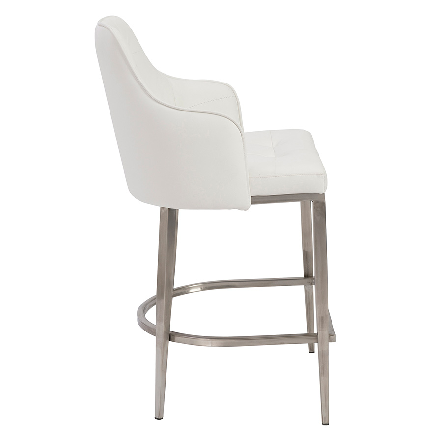 Aaron White Leatherette + Brushed Metal Modern Counter Stool