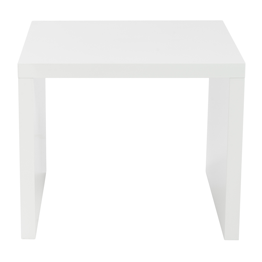 Abby High Gloss White Lacquer Contemporary Side Table