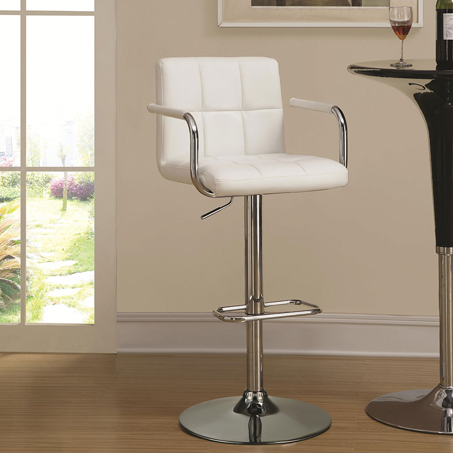 Abel Adjustable White Contemporary Bar Stool