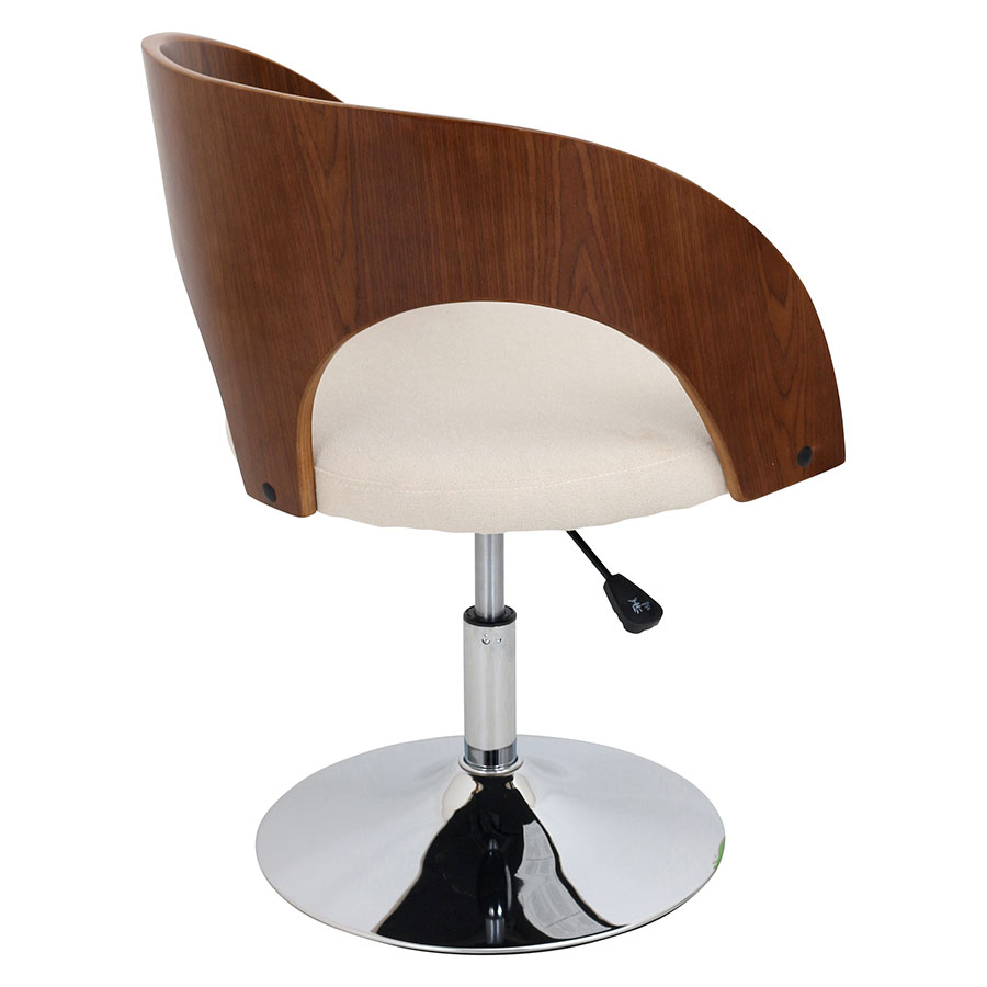Abu Cream + Walnut + Chrome Modern Adjustable Chair