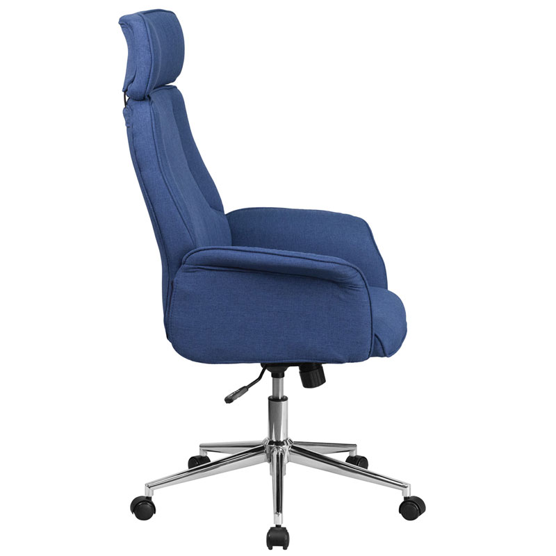Affiliate Modern High Back Blue Office Chair  - Side View