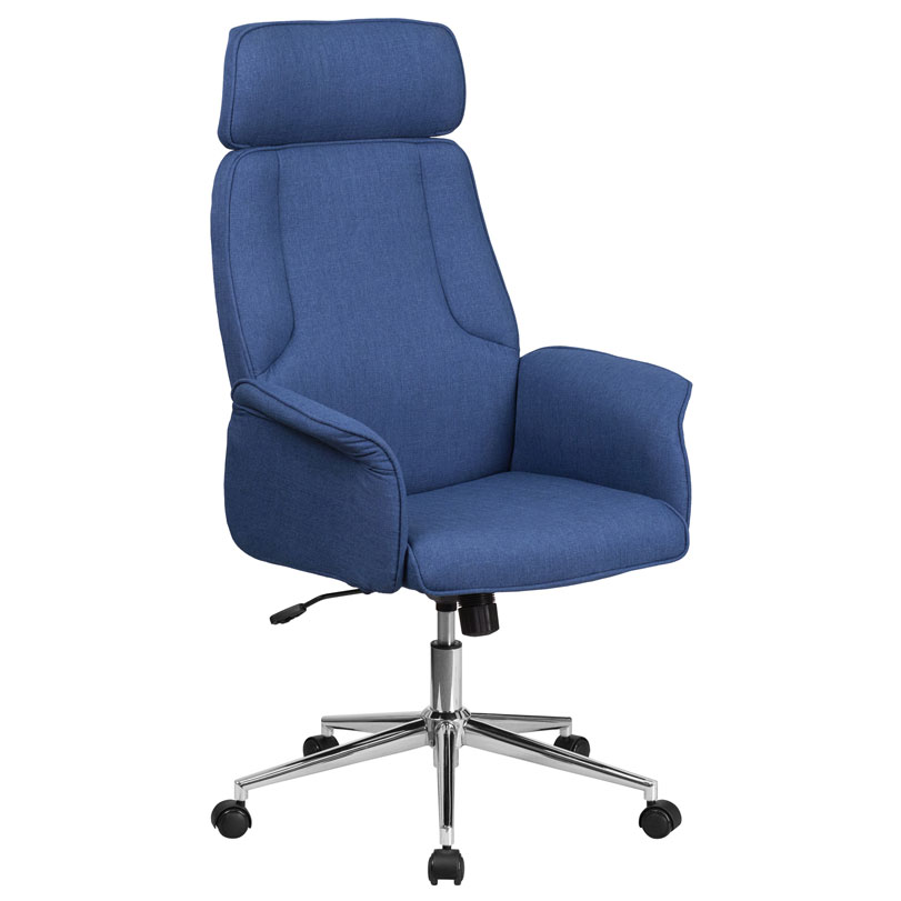 Affiliate modern high back blue office chair eurway for Blue office chair
