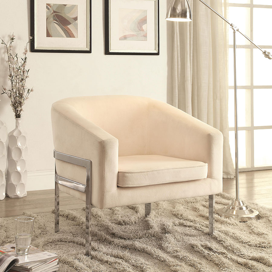 Agnes Beige Contemporary Lounge Chair