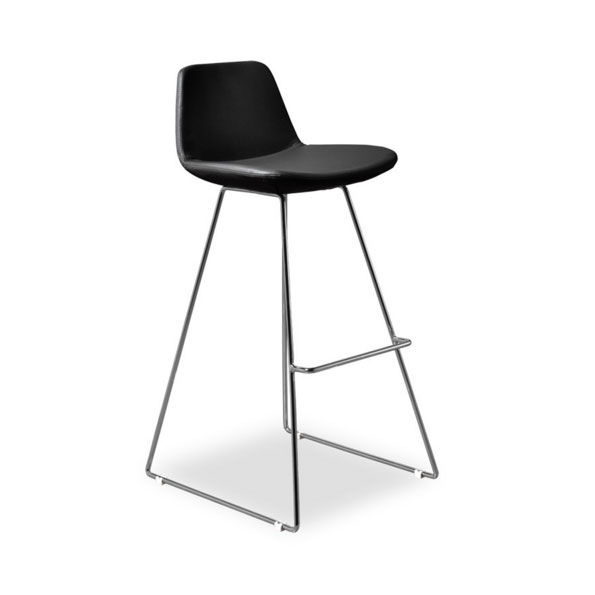 Agoura Black Leatherette Modern Bar Stool