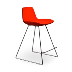 Agoura Red Wool Modern Classic Counter Stool