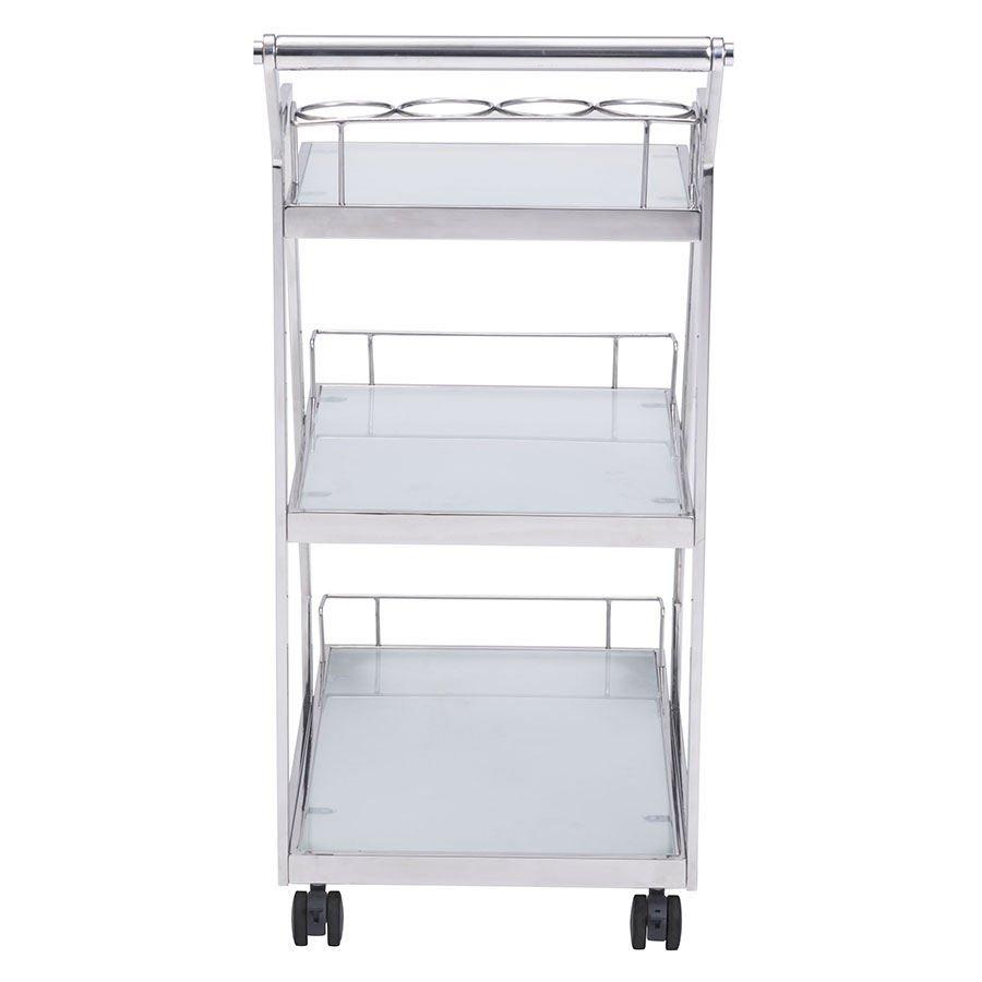 Alanis Metal + Glass Contemporary Serving Cart