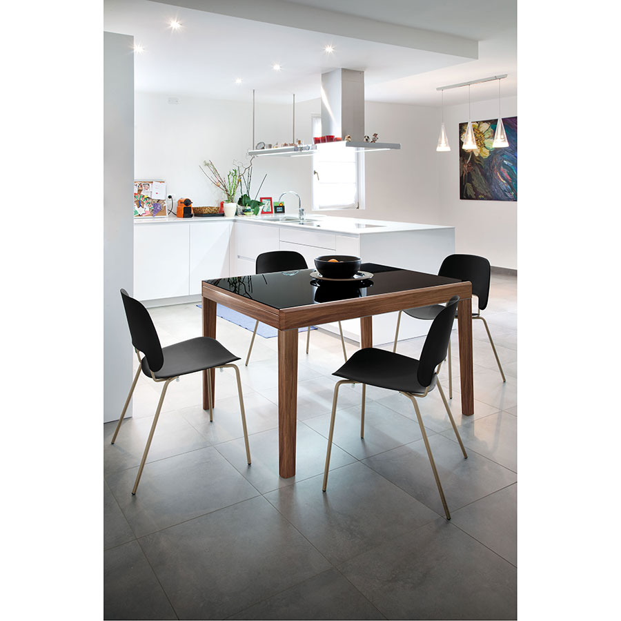 Alessio Walnut + Black Glass Modern Extension Table