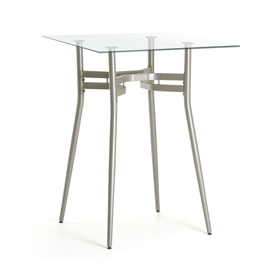 Alistair Clear Glass + Metal Modern Counter Height Table