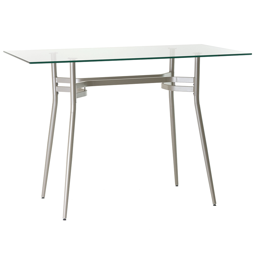 Alistair Clear Glass + Metal Long Modern Bar Height Table