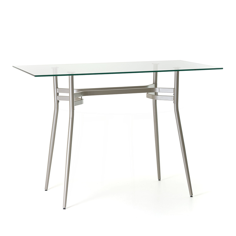 Alistair Clear Glass + Metal Long Modern Counter Height Table