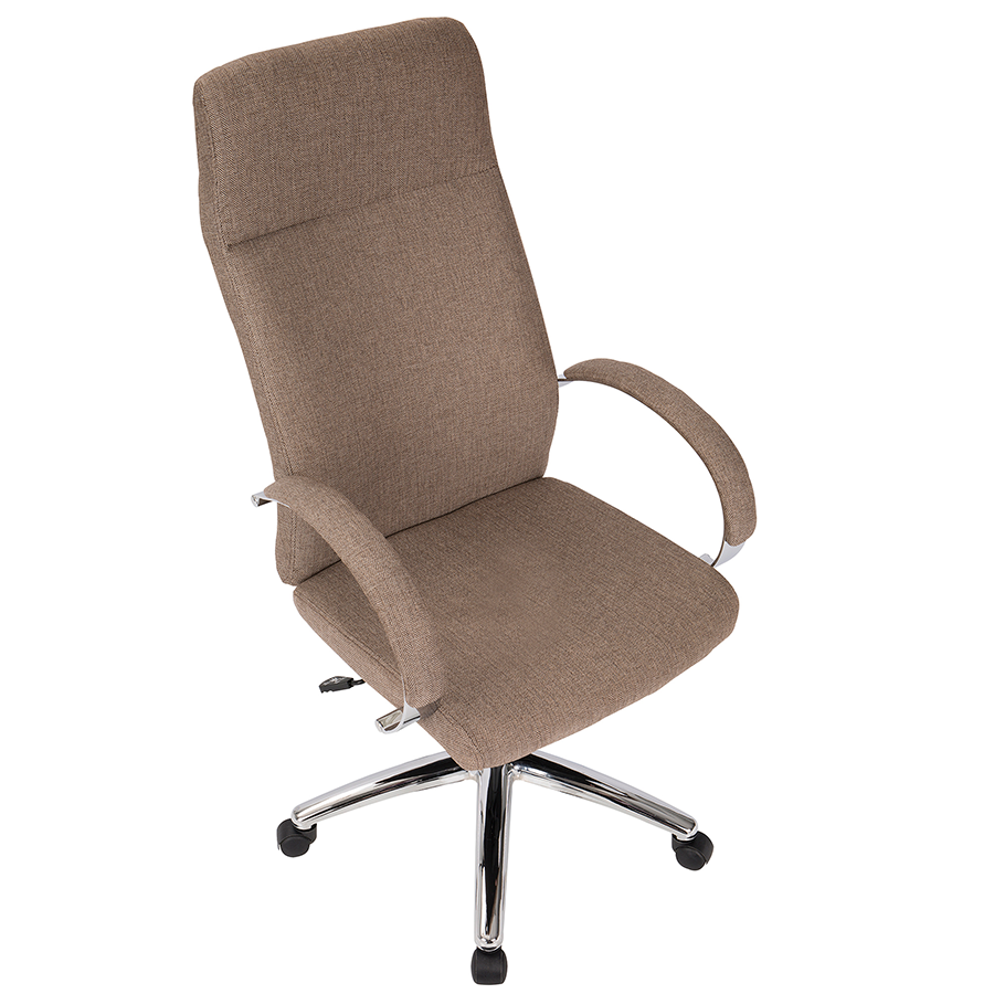 Allegra Brown Fabric + Chrome Contemporary Office Chair
