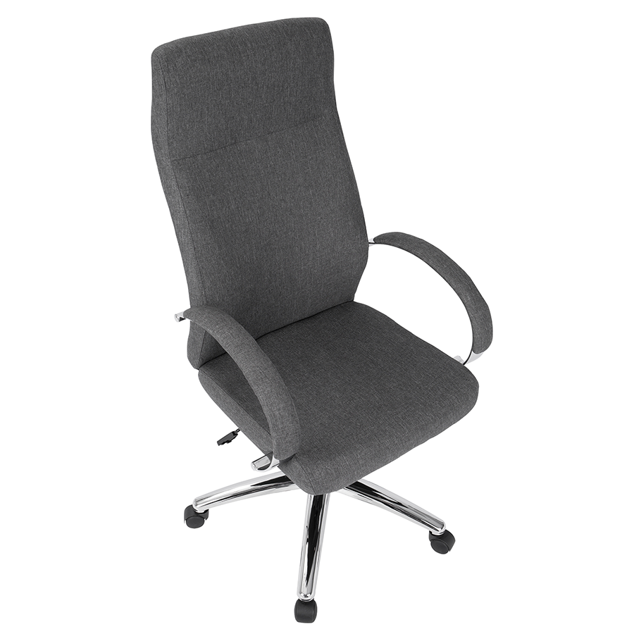 Allegra Gray Fabric + Chrome Metal Contemporary Office Chair