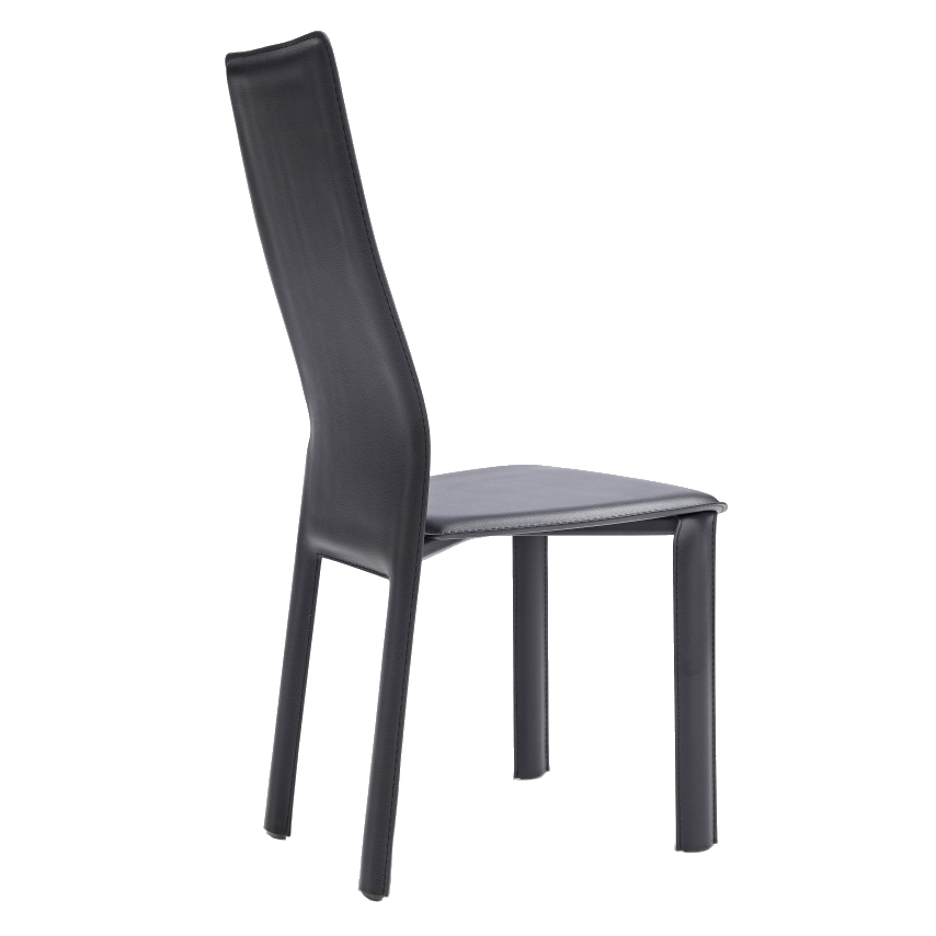 Allisone Black Leather Modern Dining Chair