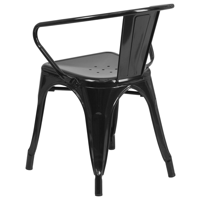 Ally Modern Industrial Dining Chair in Black - Back View