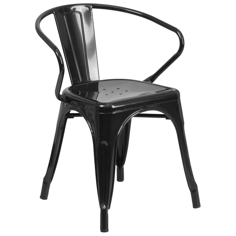 Ally Modern Industrial Dining Chair in Black