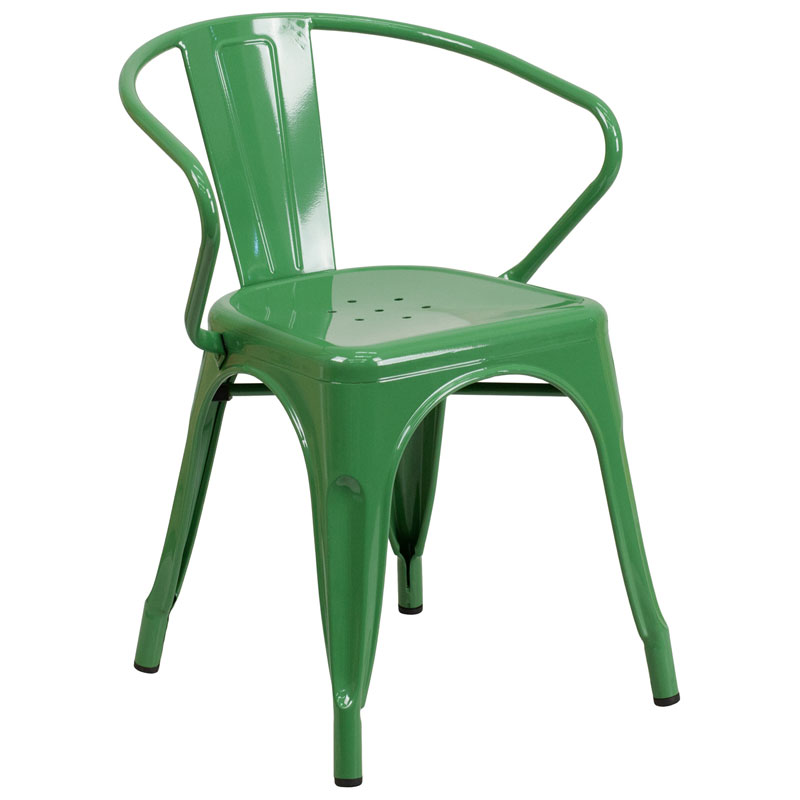 Ally Modern Industrial Dining Chair in Green