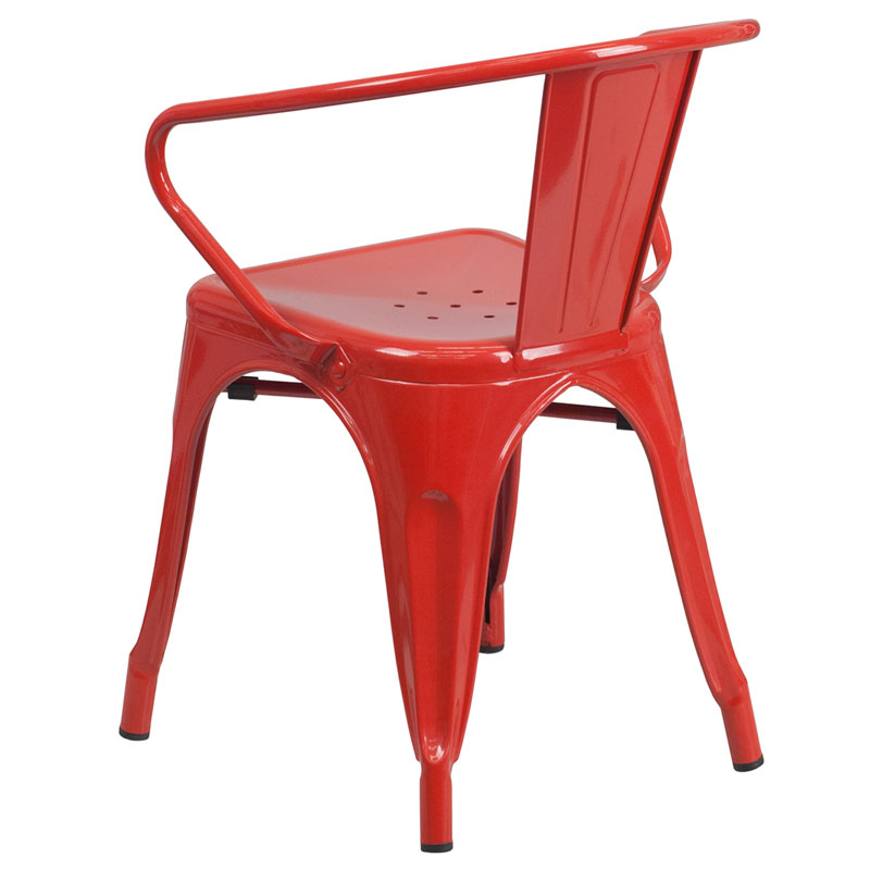 Ally Modern Industrial Dining Chair in Red - Back View