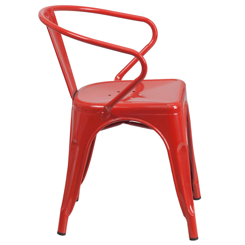 Ally Modern Industrial Dining Chair in Red - Side View