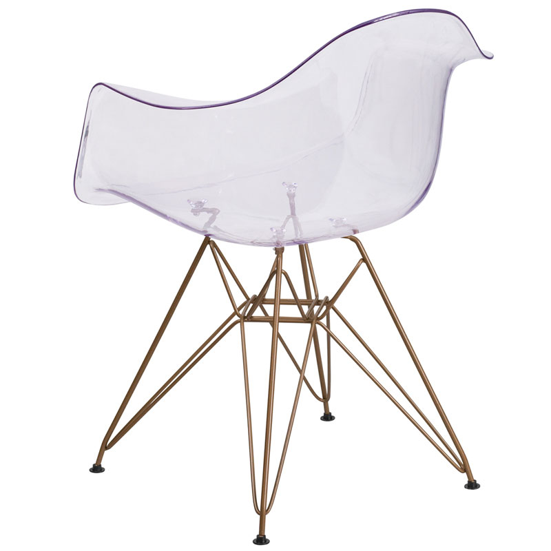 Altamont Modern Clear + Gold Arm Chair - Back View