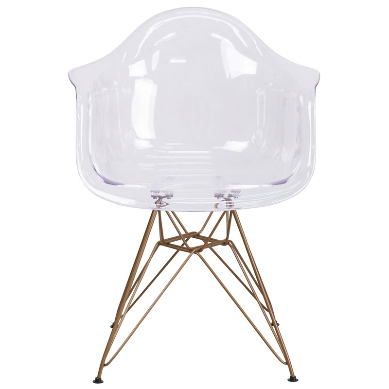 Altamont Modern Clear + Gold Arm Chair - Front View