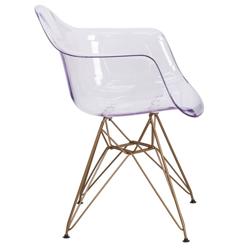 Altamont Modern Clear + Gold Arm Chair - Side View