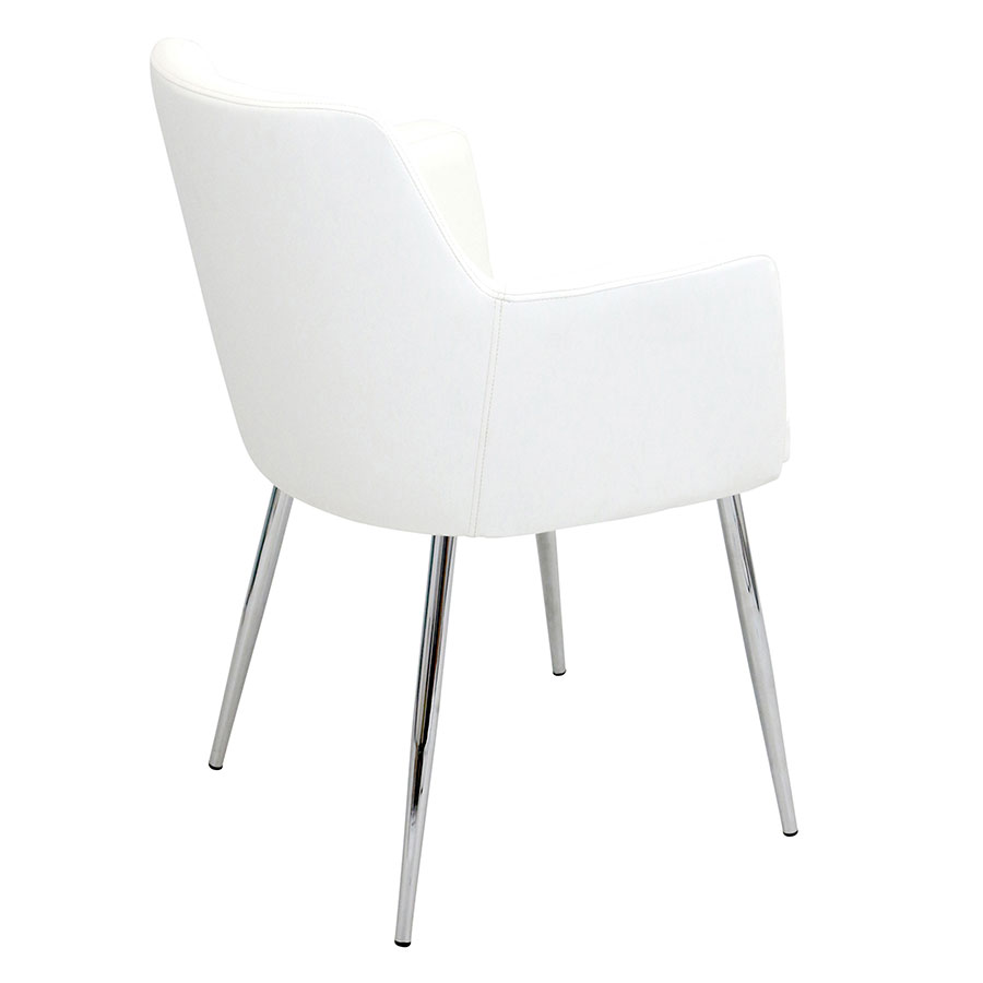 Alvis White Leatherette Contemporary Arm Chair
