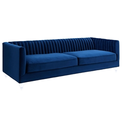 Anatoli Navy Velvet Contemporary Sofa