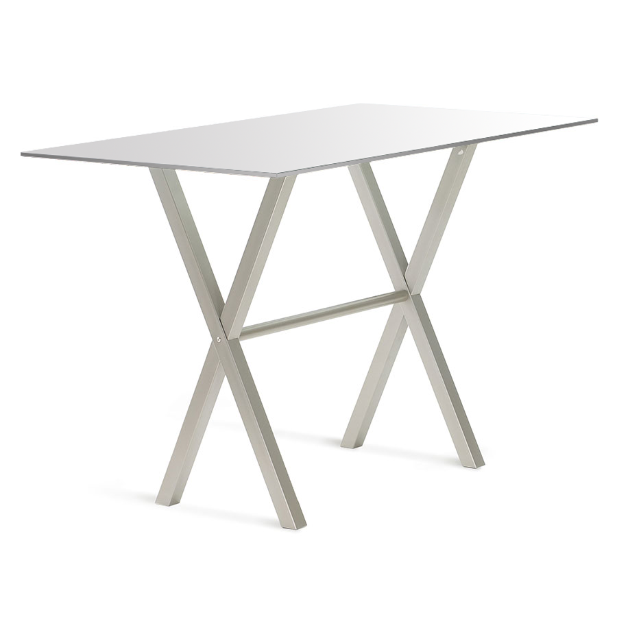 Andreas White Glass + Metal Modern Bar Height Table