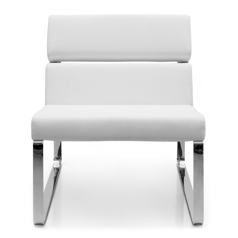 Annie Modern Lounge Chair in White - Front View