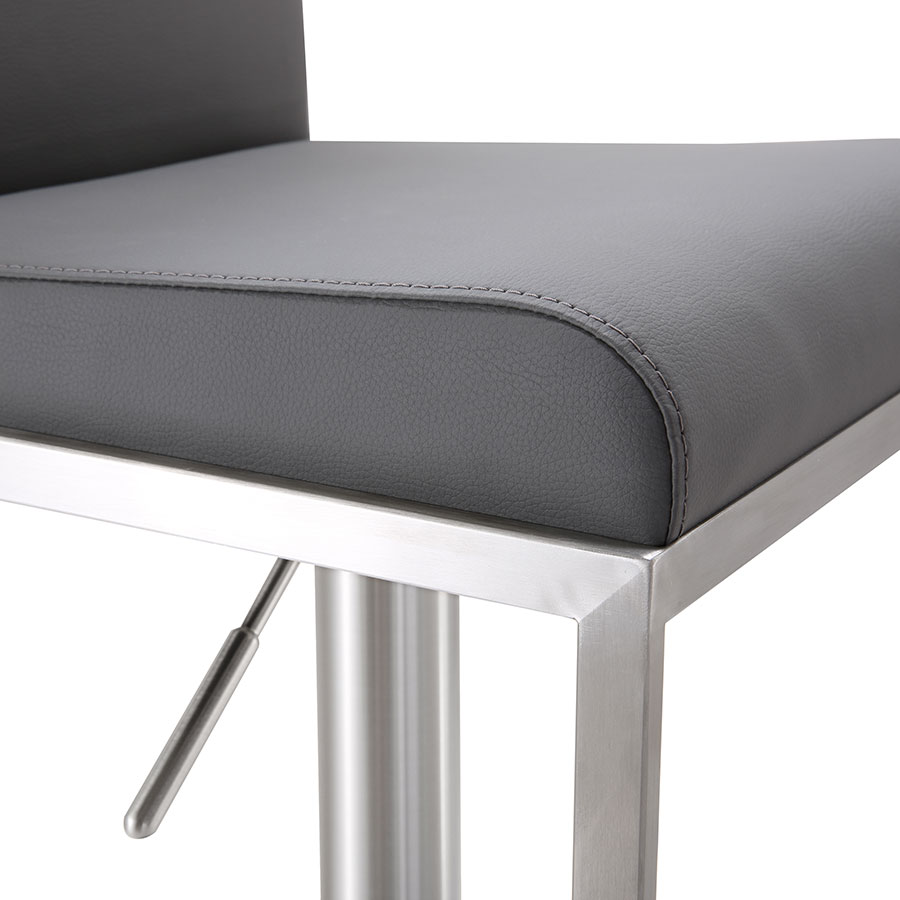 Ardennes Modern Gray Adjustable Stool - Seat Detail