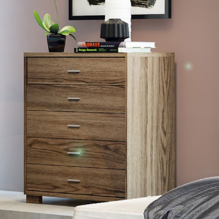 Astrid Contemporary Matte Chocolate 5 Drawer Chest