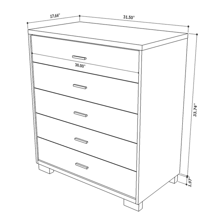Astrid Modern 5 Drawer Chest - Drawing