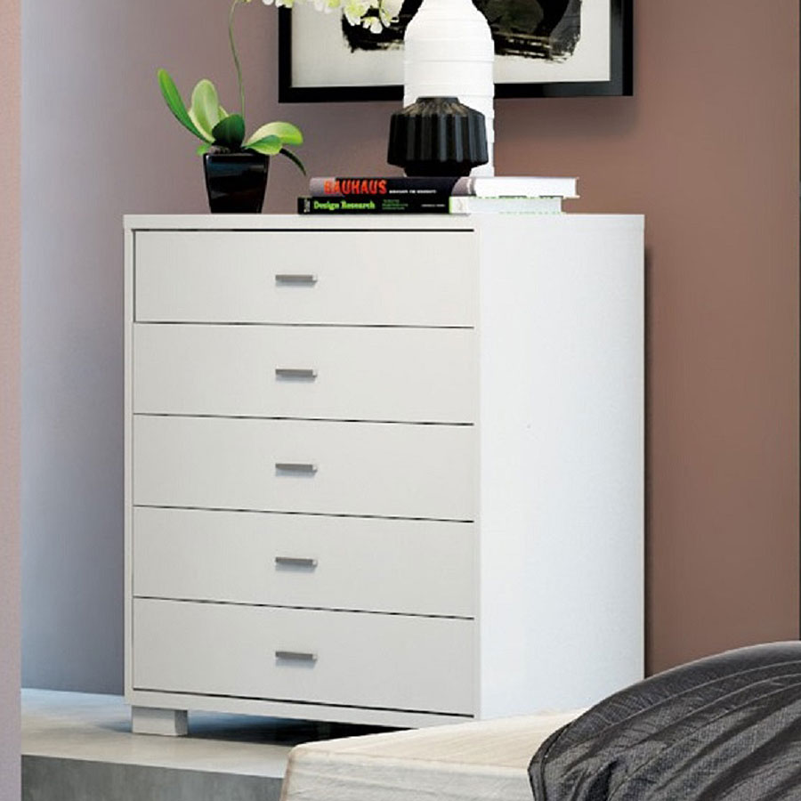Astrid Contemporary White High Gloss 5 Drawer Chest