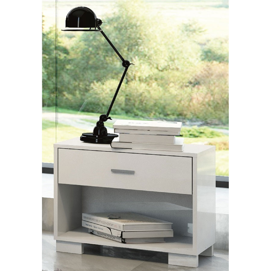 Astrid Contemporary White High Gloss Nightstand