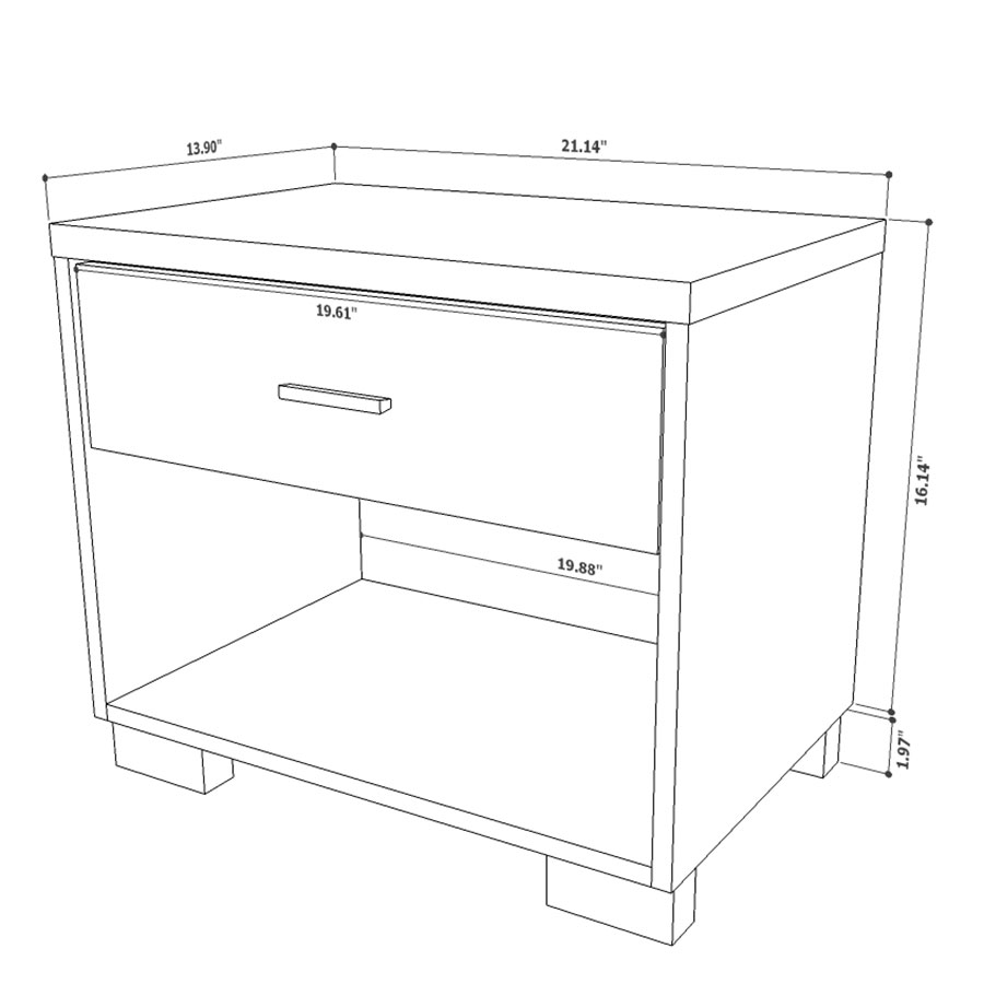 Astrid Modern Nightstand - Drawing