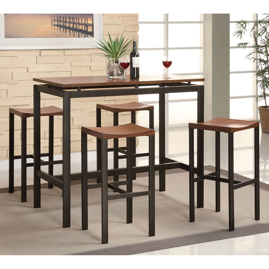 Athens Contemporary Bar Table + Stool Set in Cherry and Black