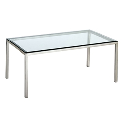 Austin Modern Stainless Steel + Glass Dining Table