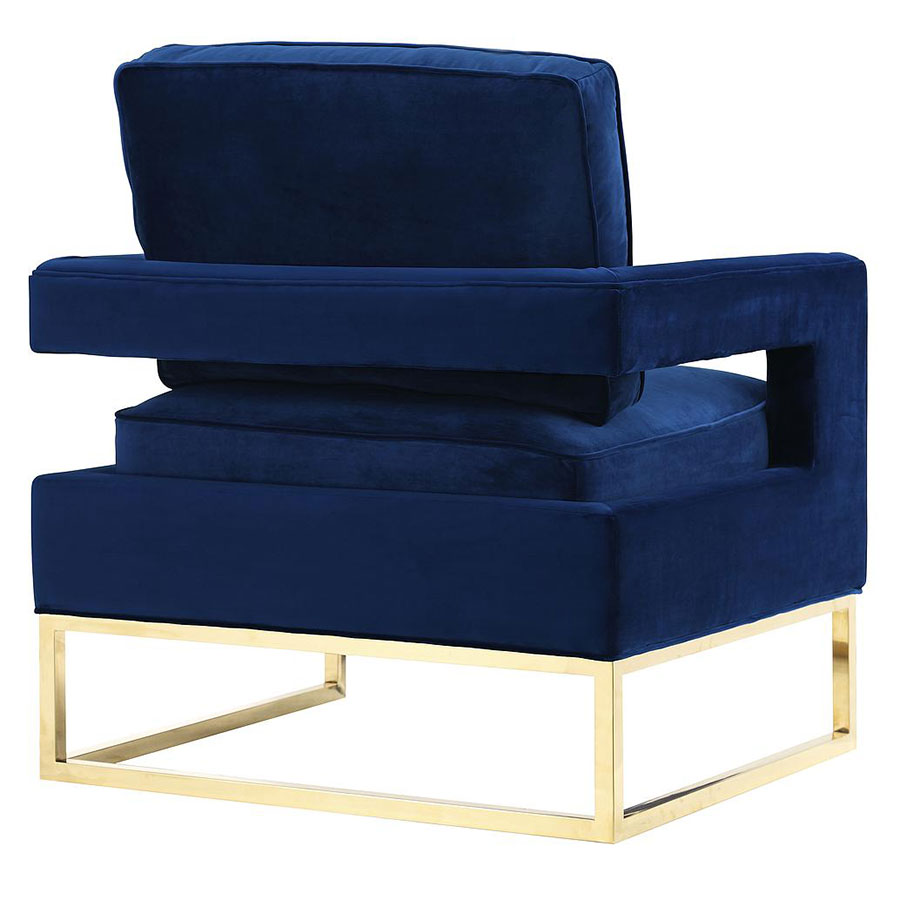 Austria Blue Velvet and Gold Modern Chair