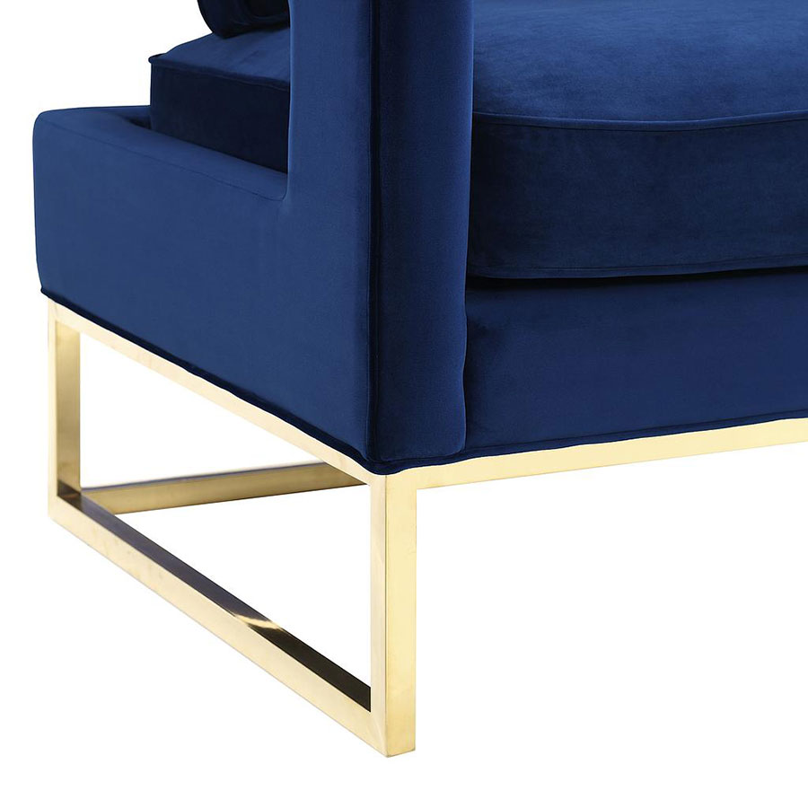 Austria Blue Velvet and Gold Modern Arm Chair