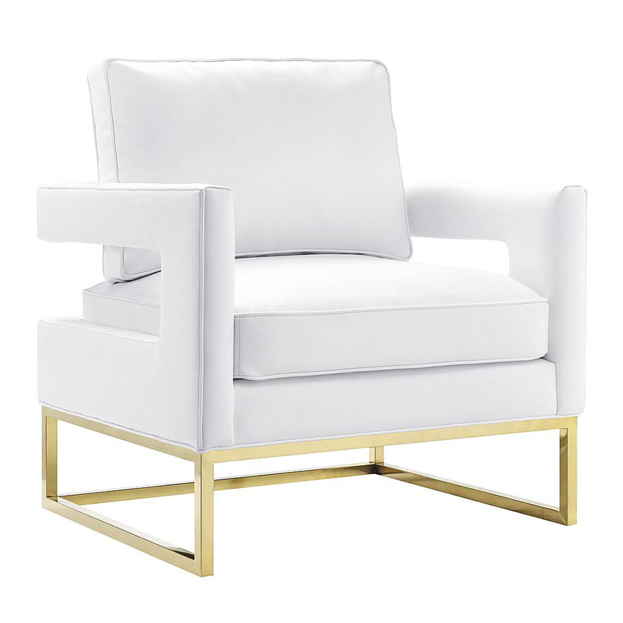 Austria White Leather + Gold Modern Lounge Chair