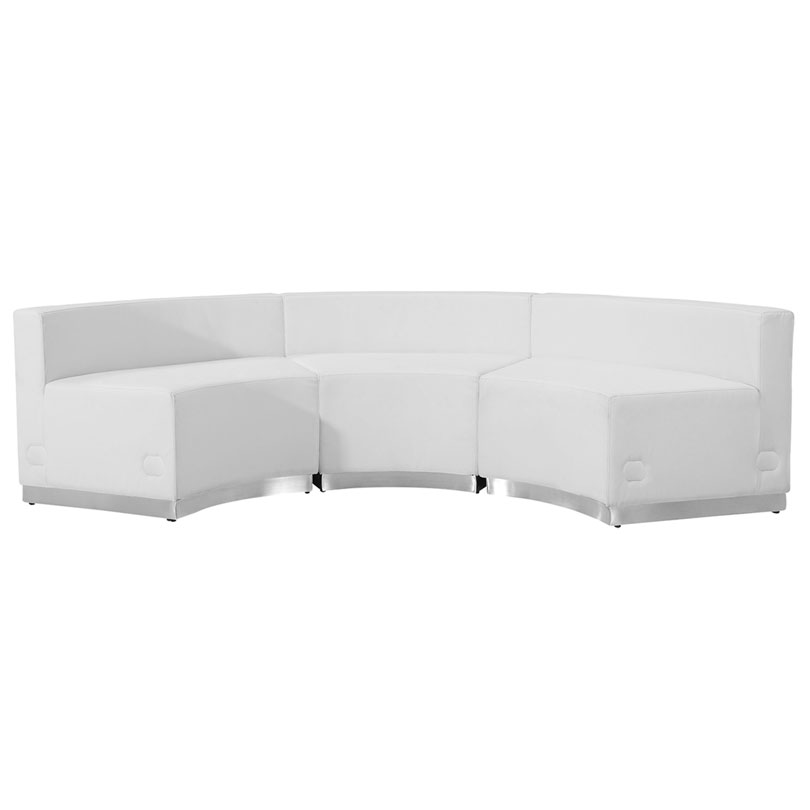 Avalon Modern White Modular Concave 3 Pc Sectional - Front View