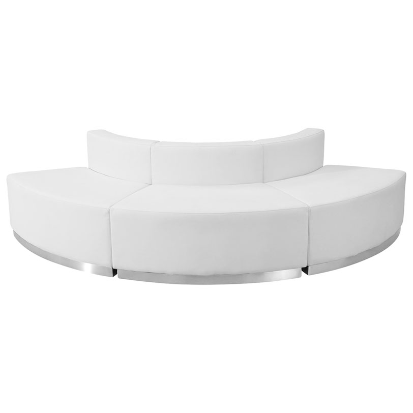 Avalon Modern White Modular Convex 3 Pc Sectional