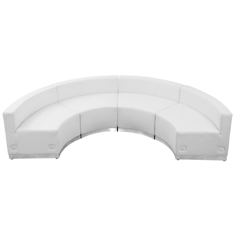 Avalon Modern White Modular Concave 4 Pc Sectional