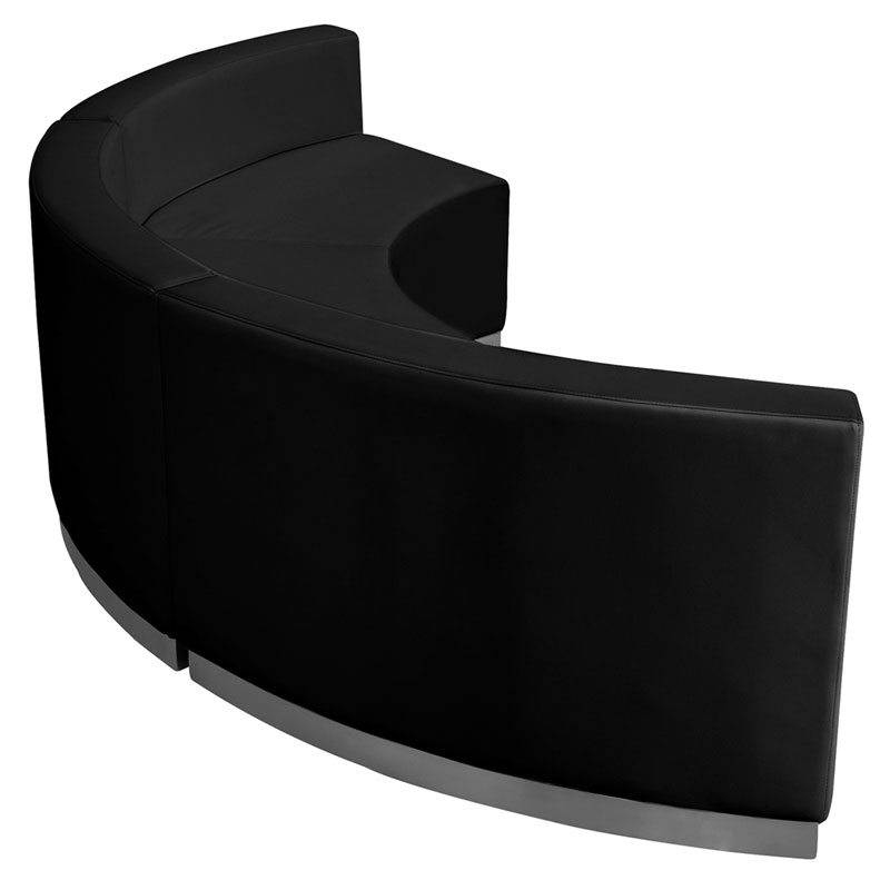 Three Avalon Concave Chairs - Black Leathersoft