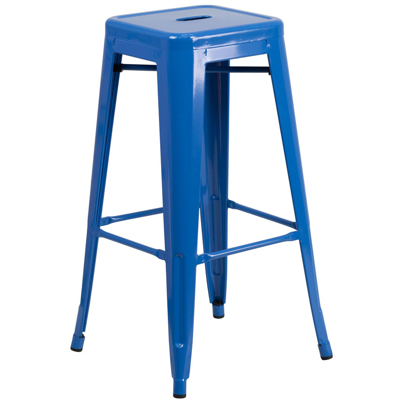 Avenue Blue Industrial Modern Bar Stool
